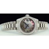 ROLEX - Ladies 26mm 18kt White Gold Datejust President - Tahitian Mother of Pearl Roman - 179159