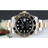 ROLEX 40mm 18kt Gold Stainless Submariner Black CERAMIC Bezel 116613 SANT BLANC