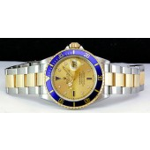 ROLEX - 40mm 18kt Gold & Stainless SUBMARINER Champagne Serti - 16613 SANT BLANC