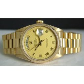 ROLEX - Mens 36mm 18kt Gold Day-Date PRESIDENT Champagne Roman 18038