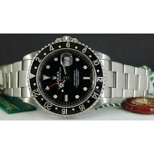 "ROLEX - Stainless GMT Master II SEL ""No Holes"" - 16710 SANT BLANC"