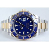 ROLEX - 40mm Mens Gold & Stainless SUBMARINER Ceramic Blue Index Dial - 116613
