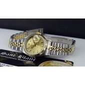 ROLEX - Ladies 18kt Gold & SS DATEJUST Champagne Index Dial 69173 - SANT BLANC