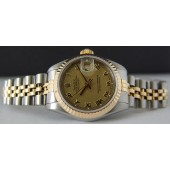 ROLEX - Ladies 26mm 18kt Gold & SS Datejust Champagne Roman 69173 SANT BLANC