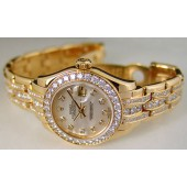 ROLEX - 18kt Gold Ladies Triple Diamond Bracelet Pearlmaster 80298