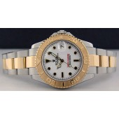 ROLEX - 18kt Gold and Stainless Steel, Mid-Size 35mm Yacht-Master White Index - 168623 from SANT BLANC