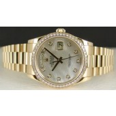 ROLEX 18kt Gold 36mm President White Mother of Pearl DIAMOND Bezel 118238