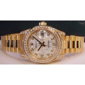 ROLEX - 26mm Ladies 18kt Gold PRESIDENT Silver Diamond Dial - 179158