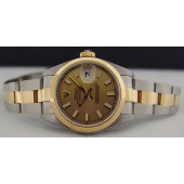 ROLEX Ladies 26mm Gold Stainless Steel DateJust Champagne Index 79163 SANT BLANC