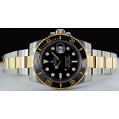 ROLEX - Mens 40mm 18kt Gold & Stainless Submariner Black Ceramic - 116613