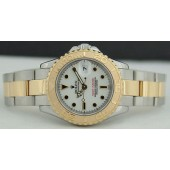 ROLEX 18kt Gold & Stainless Steel Mid-Size 35mm YachtMaster White Dial - 168623
