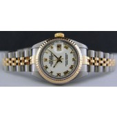 ROLEX Ladies 26mm Gold Stainless Steel DateJust White Roman 69173 SANT BLANC