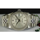 ROLEX - Mens 18kt White Gold & Stainless Steel DateJust Silver Tapestry Dial - 16234