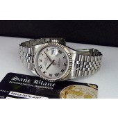ROLEX - Mens 18kt WG & Stainless DateJust Rhodium Roman Dial - 16234 SANT BLANC