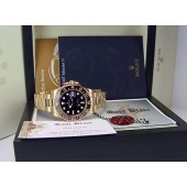 ROLEX - Mens 18kt Gold 40mm GMT Master II Black Index Dial - 116718 SANT BLANC