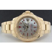 ROLEX - Mens 40mm 18kt Gold Yacht-Master Mother of Pearl Ruby 16628