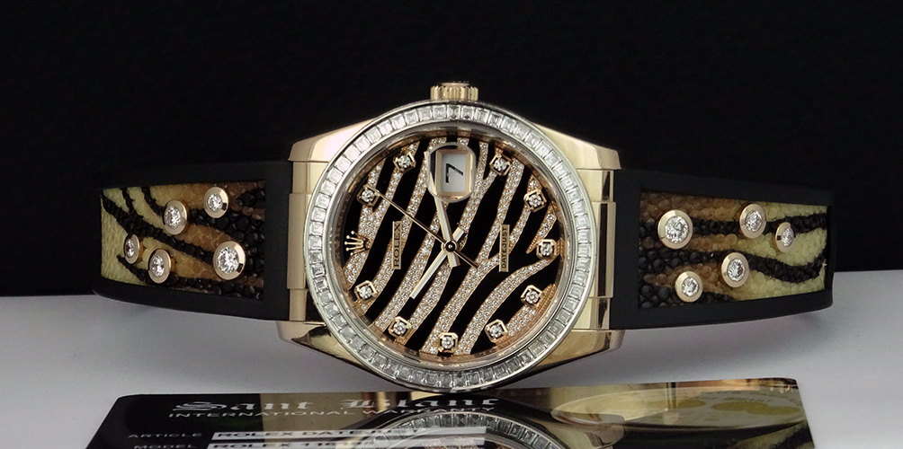 ROLEX - ROYAL PINK Ever Rose Gold EXOTIC Pave Full Diamond 116185