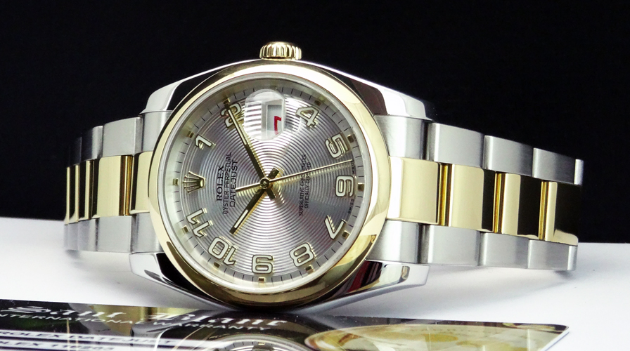 ROLEX 18kt GOLD SS 36mm Mens DateJust Silver Concentric Arabic - 116203 SANT BLANC