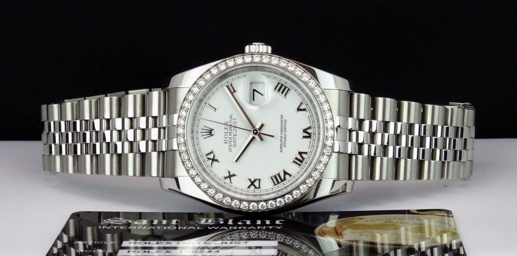 ROLEX Men's DateJust 18kt White Gold & SS White Roman Dial 116244 SANT BLANC