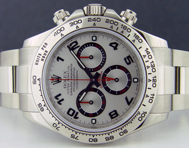 Swiss Watches Rolex 40mm 18kt White Gold Daytona Silver Dial