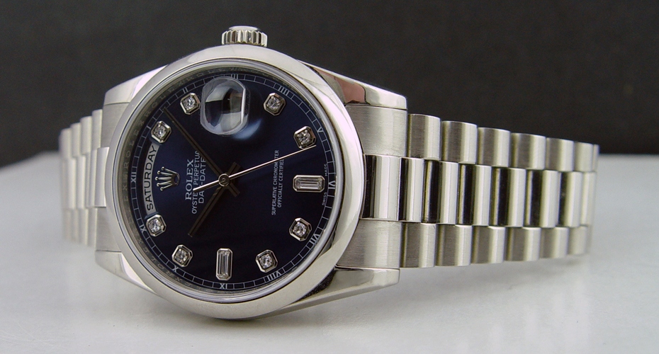 ROLEX - 36mm Platinum Day-Date President Blue Diamond Dial - 118206