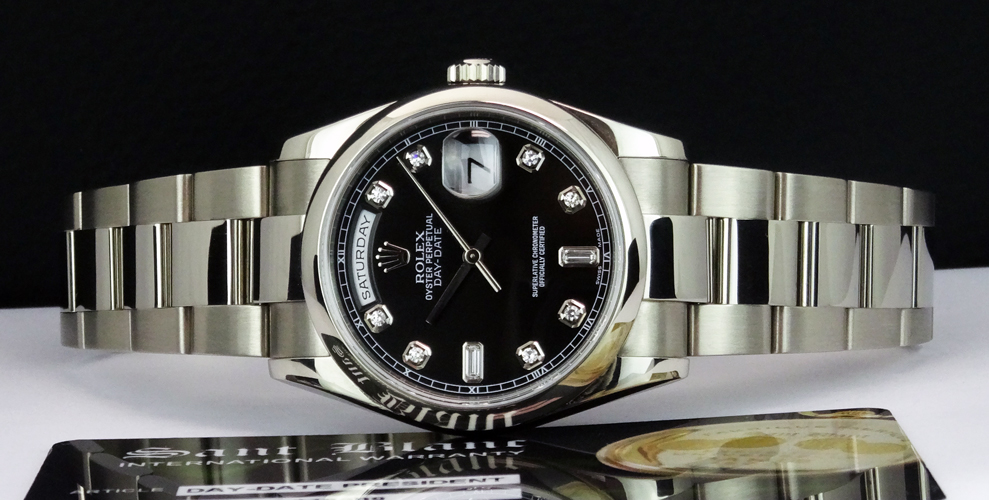 ROLEX - Men's 18kt White Gold President Black Diamond -118209 SANT BLANC