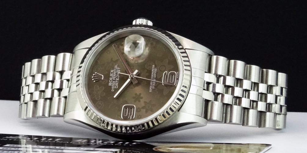 ROLEX - 18kt White Gold/Stainless DATEJUST Floral Dial Model 16234 SANT BLANC