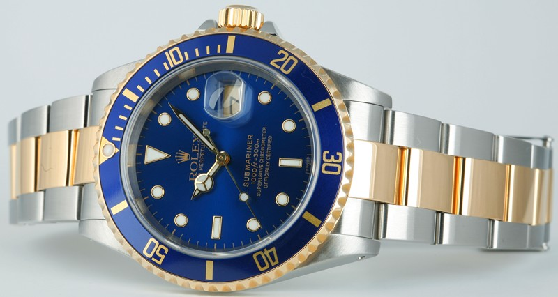 ROLEX - Mens 40mm 18kt Yellow Gold & Stainless Submariner Blue 16613