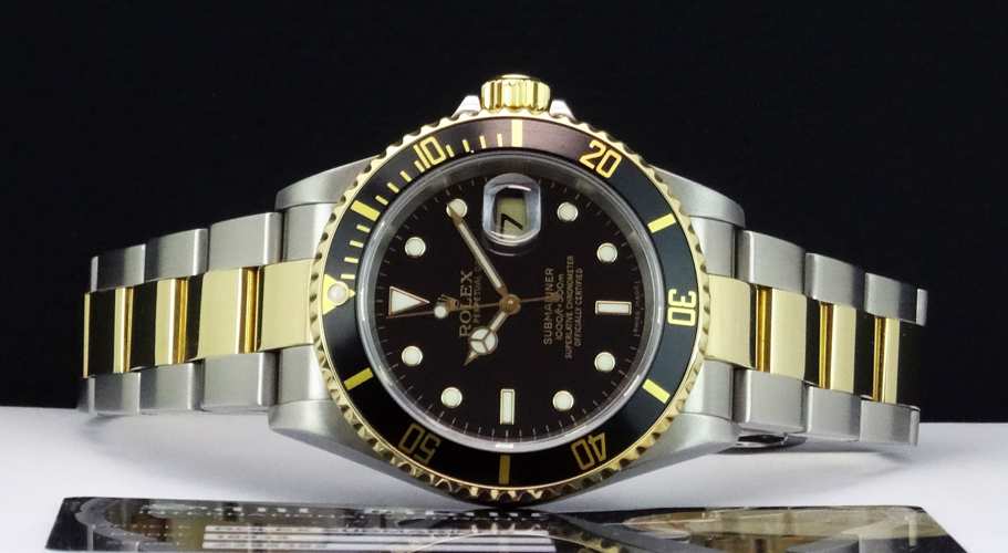 ROLEX - 18kt Gold & SS SUBMARINER Black Index Dial 40mm - 16613 SANT BLANC