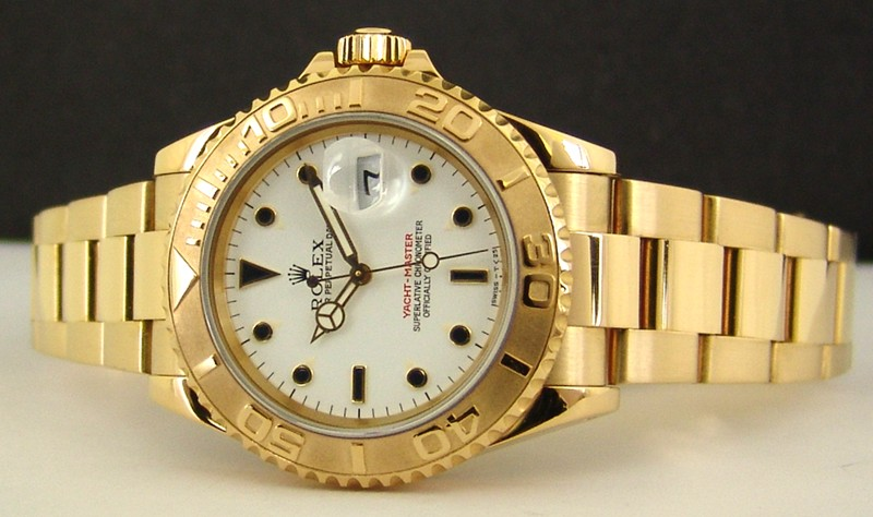 ROLEX - 18kt Gold Mid-Size 35mm Yacht-Master White Index Dial - 68628