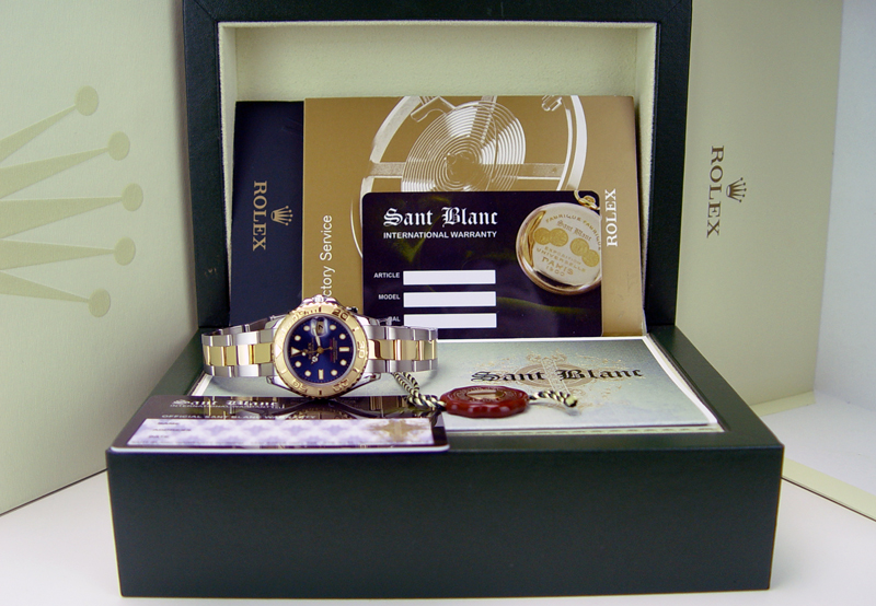 ROLEX - Yacht-Master 18kt Gold & Stainless Mid-Size 35mm Blue 168623 in a Rolex Box