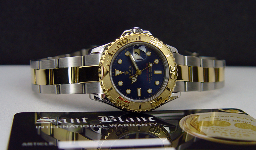 Midsize Rolex Yacht-Master with a Blue Dial