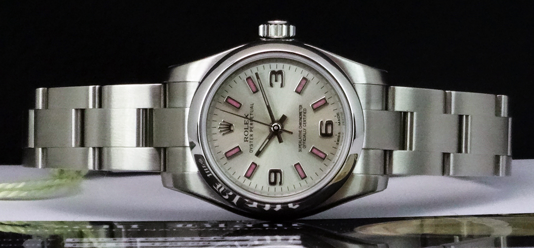 ROLEX - Ladies 26mm Stainless DateJust Silver Dial Pink Index 176200