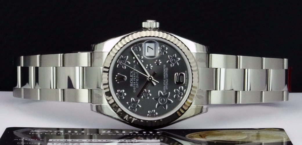 ROLEX - Mid-Size Datejust 31mm - Silver Floral Arabic Dial - 178274