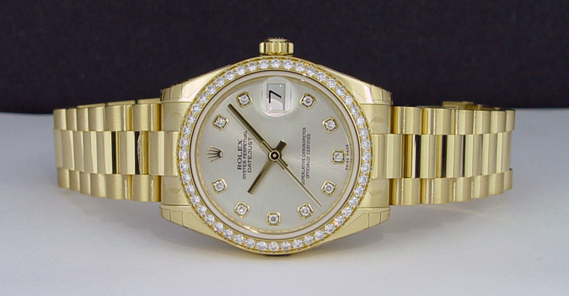 ROLEX - 2013  Mid-Size 18kt Gold President Silver Diamond Dial 178288