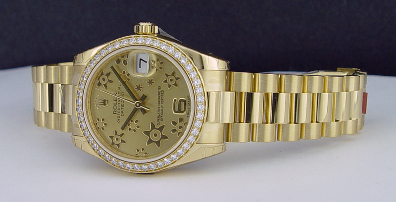 ROLEX - 31mm 18kt Gold MidSize President Champagne Floral Dial 178288