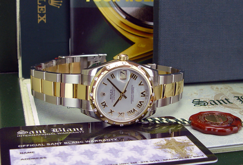 ROLEX DateJust 31mm 18kt Gold & Stainless Steel, Mother of Pearl Roman 24 Diamond Bezel 178343