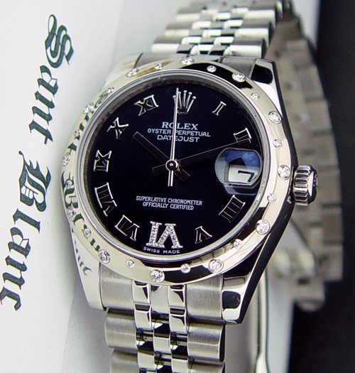 ROLEX  MidSize 31mm 18kt White Gold DATEJUST Sparkle DIAMOND 178344