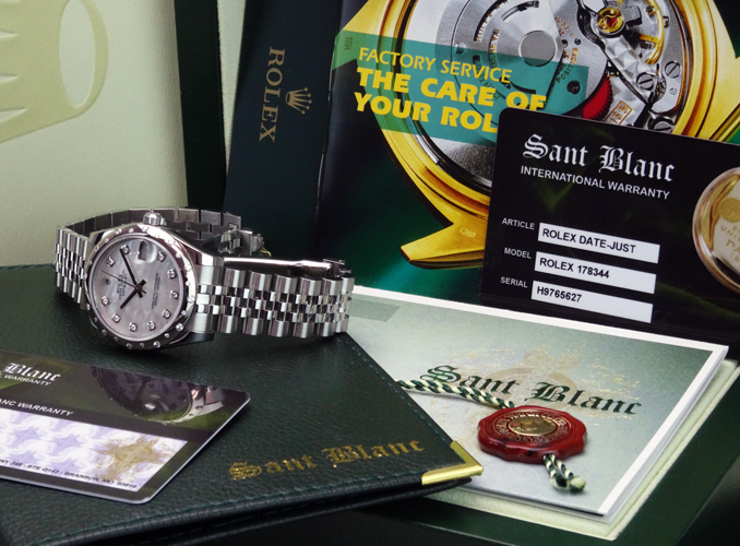ROLEX  MidSize 31mm 18kt White Gold and Stainless Steel DATEJUST Mother of Pearl Diamond 178344