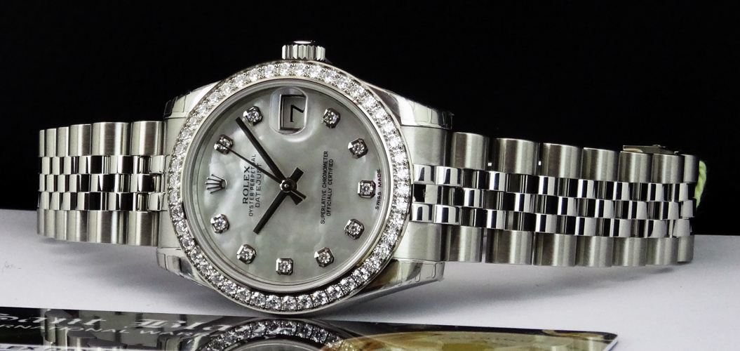 ROLEX  MidSize 31mm 18kt White Gold and Stainless Steel DateJust, Mother of Pearl Diamond 178384