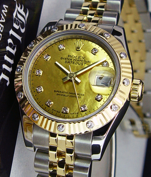 ROLEX Ladies DateJust 18kt Gold and Stainless Steel with a 12 Diamond Bezel 179313