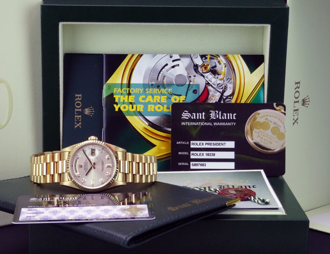 Men's Rolex Day-Date Presidential with a Silver Diamond Dial, Reference 18238