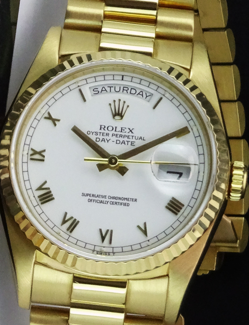 Men's Rolex Day-Date Presidential with a White Roman Dial, Reference 18238