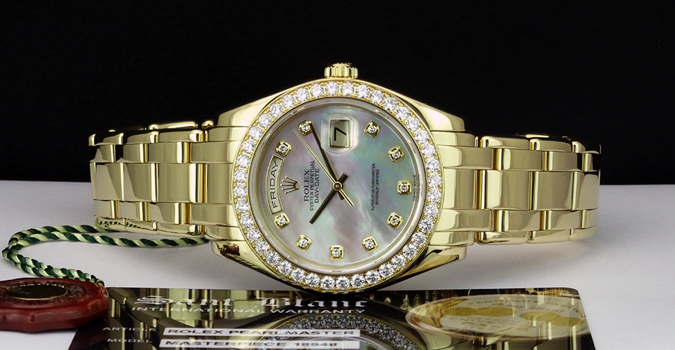 ROLEX 18kt Gold Mens Pearlmaster MASTERPIECE Pearl Diamond Dial 18948