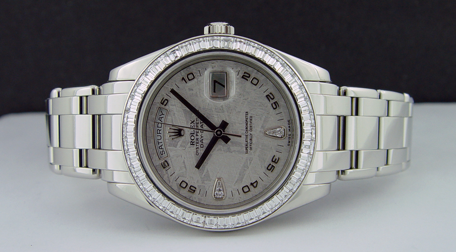 ROLEX - Mens 39mm Platinum Masterpiece Meteorite Diamond Dial