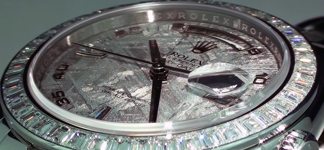 Closeup of the Rolex Meteorite Dial showing the crosshatch pattern and diamond Rolex Bezel.
