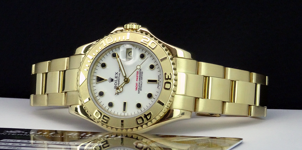 ROLEX - 35mm 18kt Gold Mid-Size Yacht-Master White Index Dial - 68628