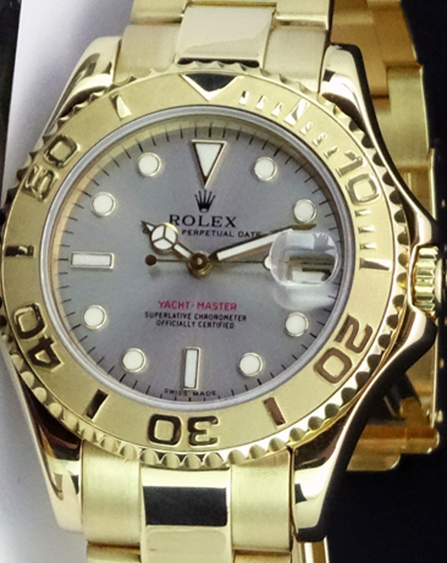 ROLEX - 35mm 18kt Gold Mid-Size Yacht-Master Slate Index Dial - 68628