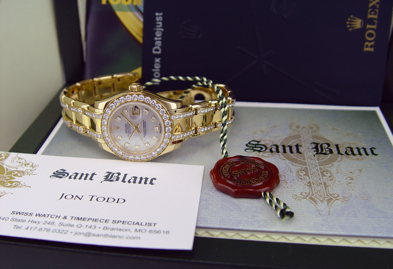 ROLEX - Ladies 18kt Gold Pearlmaster Mother of Pearl Diamond Dial and Bracelet 80298 in Rolex Box