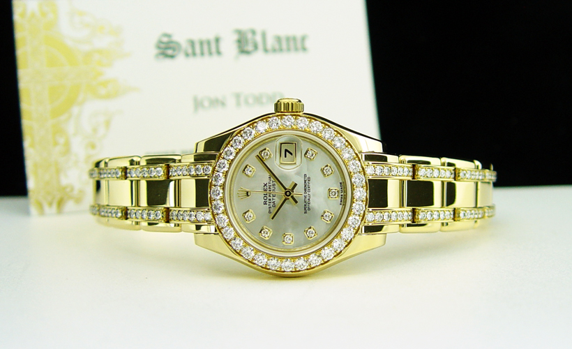 ROLEX - Ladies 18kt Gold Pearlmaster Mother of Pearl Diamond Dial and Bracelet 80298